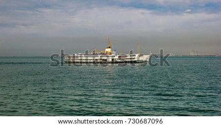 View of the Ferry from Ortaköy coast on a cloudy day