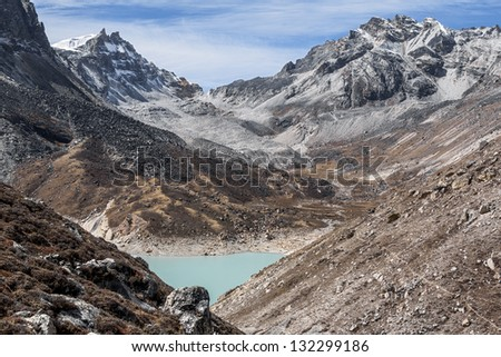 View of the fifth Gokyo lake ( Ngozumba Tsho ) - Nepal, Himalayas - stock photo