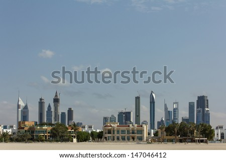 View of the financial center in Dubai - stock photo