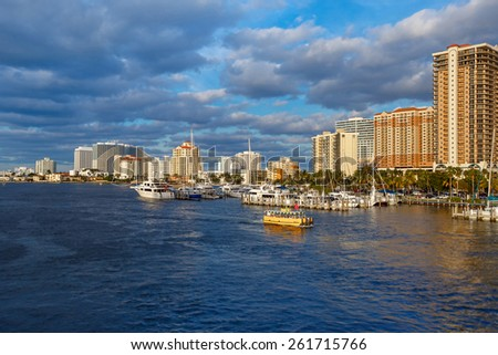 View of the Fort Lauderdale Intracoastal Waterway  on beautiful spring day - stock photo