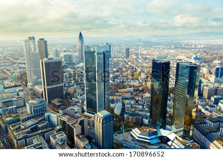 view of the Frankfurt skyscrapers - stock photo