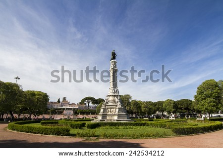 View of the garden of Afonso de Albuquerque located in Lisbon, Portugal. - stock photo
