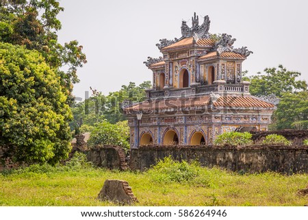 View of the Gate in the Imperial City, Complex of Hue Monuments in Hue, World Heritage Site, Vietnam
