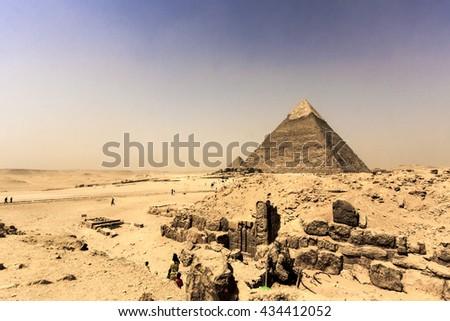View of the Giza Pyramids. Egypt. Cairo. - stock photo