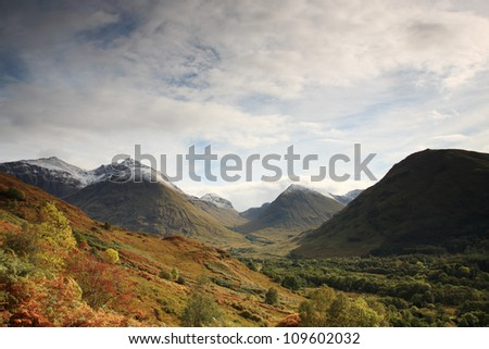 View of the Glencoe Mountains in Scotland - stock photo