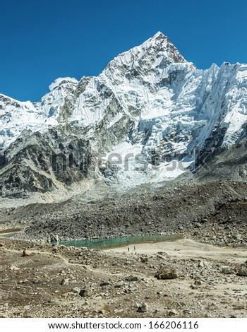 View of the Gorak Shep village from Kala Patthar - Everest region, Nepal, Himalayas