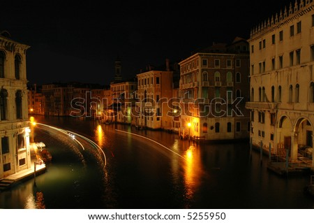 View of the Grand Canal from the Rialto Bridge in Venice, Italy - stock photo