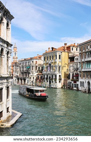 View of the Grand Canal, Venetian palaces and a waterbus from Ponte di Rialto or Rialto Bridge in Venice, Italy.