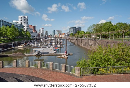 View of the harbor quarter of Dusseldorf in Germany in the springtime - stock photo