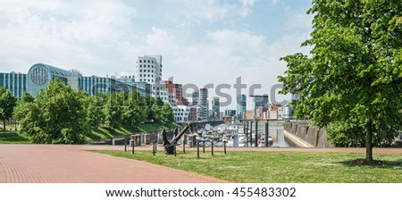 View of the harbor quarter of Dusseldorf in Germany in the springtime
