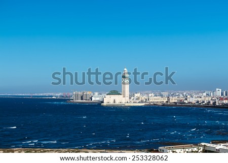 View of the Hassan II Mosque. Casablanca, Morocco. - stock photo