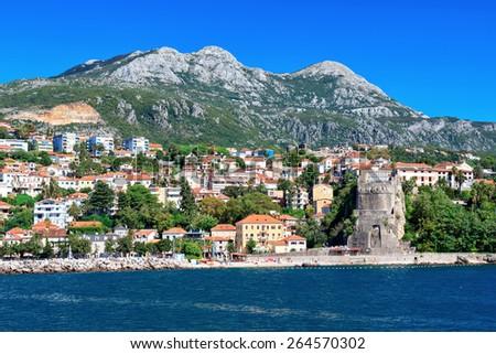 View of the Herceg Novi from the sea, Montenegro - stock photo