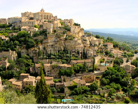 View of the hilltop village of Gordes, Provence, France - stock photo
