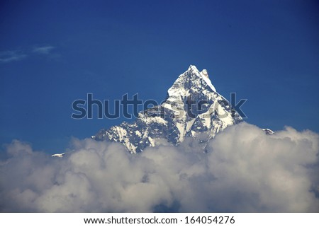 View of the himalayan peak Machhapuchhare from the south - Nepal
