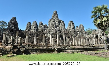 View of the Historic Bayon Temple in the Angkor Wat Complex in Cambodia - stock photo