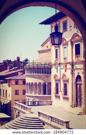 View of the Historic Center of Arezzo, Instagram Effect - stock photo