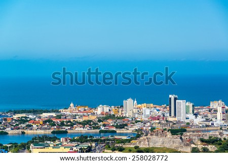 View of the historic center of Cartagena, Colombia with the old town and San Felipe de Barajas fort visible - stock photo