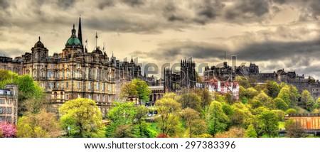 View of the historic centre of Edinburgh - Scotland - stock photo
