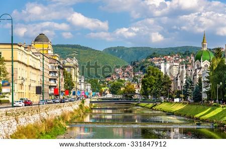 View of the historic centre of Sarajevo - Bosnia and Herzegovina - stock photo