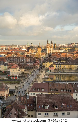 View of the historic city of Wurzburg with wineyard, region of Franconia, Northern Bavaria, Germany - stock photo