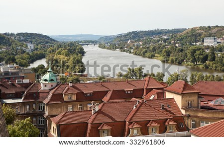 View of the historic district of Prague from the observation deck. Czech Republic. - stock photo