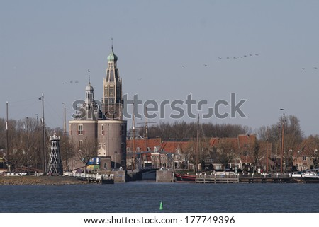 View of the historic Dutch city Enkhuizen - stock photo