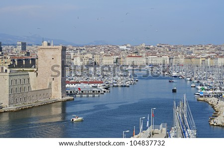"""View of the historic harbor """"Vieux Port"""" of """"Marseille"""" in South France - stock photo"""