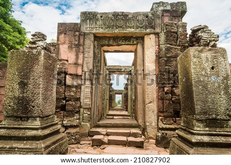 View of the historic Prasat Hin Phimai Castle at Nakhon Ratchasima Province, Thailand. The Khmer Castle were built during the Angkor period and marked the northern reaches of the realm. - stock photo