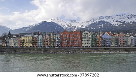 "View of the historic town of ""Innsbruck"" in Austria"