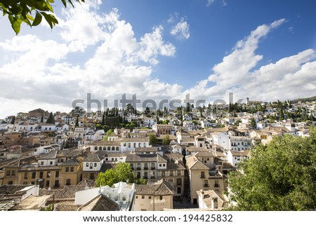 View of the historical city of Granada, Spain. Albaicin district.