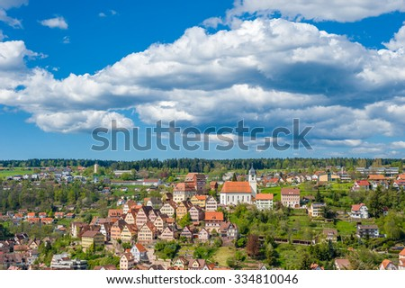 View of the historical old town of Altensteig, Black Forest, Baden-Wuerttemberg, Germany, Europe