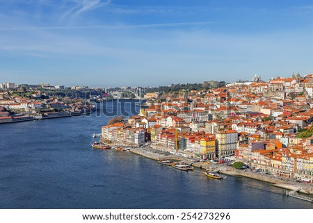View of the historical Ribeira District and Douro River in the city of Porto, Portugal. Unesco World Heritage Site - stock photo