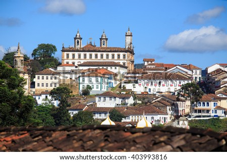 view of the historical town Ouro Preto, Minas Gerais, Brazil