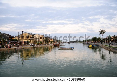 View of the Hoi An old town from the Thu Bon River. - stock photo