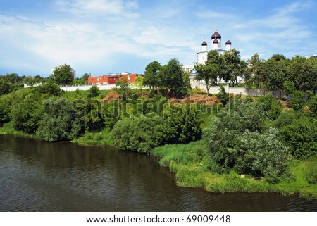 View of the Holy Assumption (Uspensky) Monastery in the city of Orel from the bridge across the Oka River, Russia