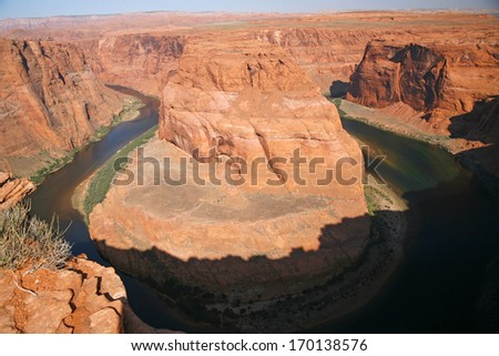view of the Horseshoe bend in Utah, USA - stock photo