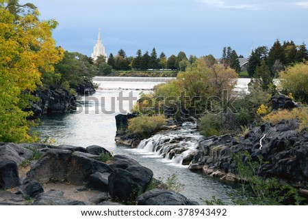 View of the Idaho Temple - The Church Of Jesus Christ Of Latter-Day Saints   from the Snake River in Idaho Falls,US  - stock photo