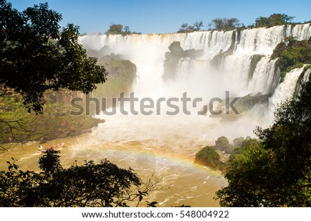 View of the Iguazu (Iguacu) falls, largest series of waterfalls on planet, between Brazil, Argentina, and Paraguay, with as many as 275 separate waterfalls cascading along the 2,700 meters cliffs.