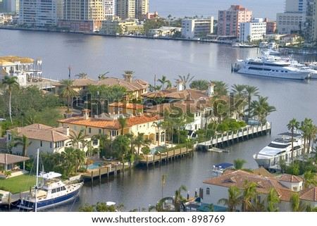 View of the Intercoastal and the Atlantic Ocean from a Fort Lauderdale condo. - stock photo