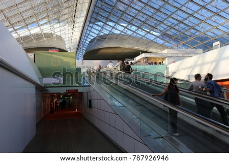 View of the interior of Charles de gaule international terminal Airport near Paris France. A large transparency ceiling made of glass and steel. The picture has been taken on 24th July 2016.