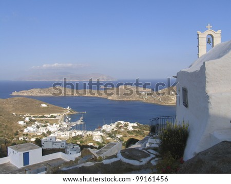 view of the island of Ios in Cyclades, Greece - stock photo