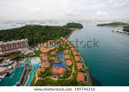 View of the island of Sentosa and Singapore to the seaside - stock photo