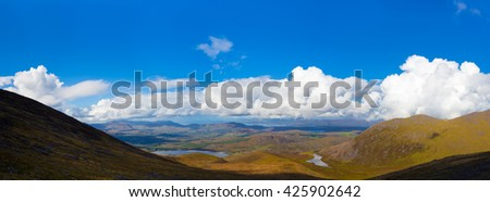 View of the Kerry landscape from Macgillycuddy's Reeks in Ireland - stock photo