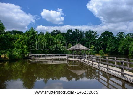 view of the lake - stock photo