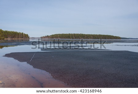 View of the lake and the forest well - stock photo