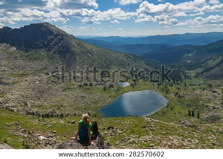 "View of the lake from the pass, the natural park ""Erkagi"" - stock photo"