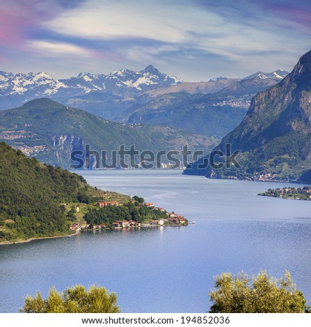 View of the Lake Iseo, a bright sunny day. Italy, Alps. - stock photo