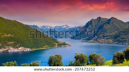 View of the Lake Iseo, colorful sunny morning. Italy, Alps. - stock photo
