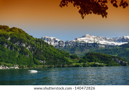 View of the lake Lucerne in Switzerland