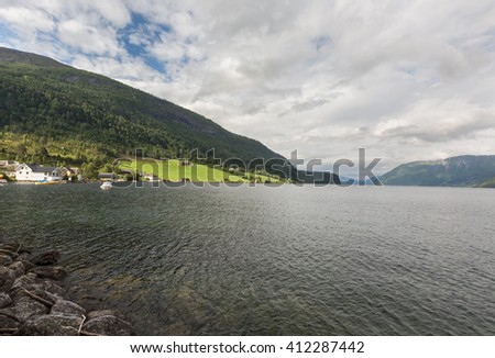 View of the lake of Stryn, Norway on a cloudy day